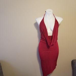 Red Stripe Glitter Dress
